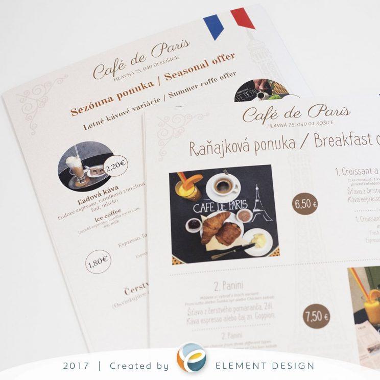 menu ponuka Cafe de Paris