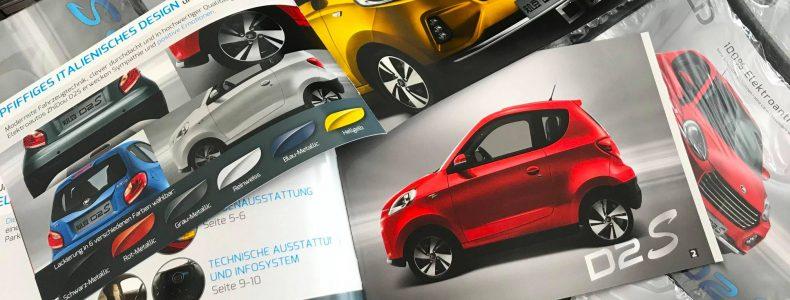 Grafický návrh a tlač brožúr pre elektromobily značky ZD.