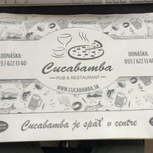 Cucabamba leták na stôl