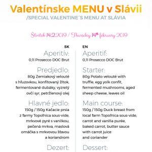 valentínské menu slávia kosice